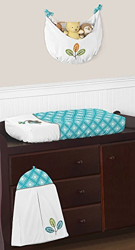Turquoise-Blue-Gray-and-White-Mod-Elephant-Girl-or-Boy-Baby-Bedding-11-Piece-Crib-Set-Without-Bumper