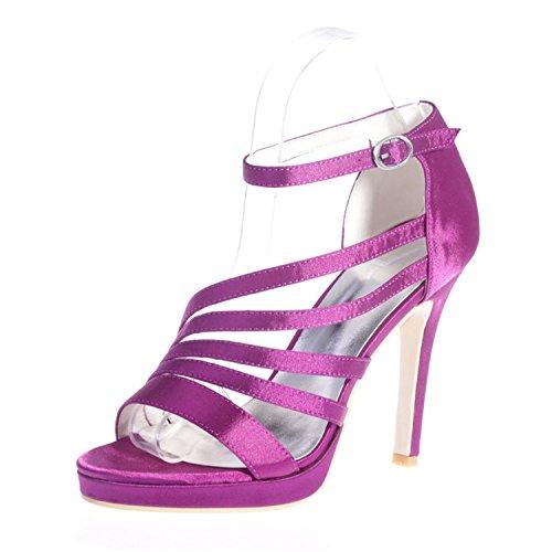 Open für Toe 23 ZXF5915 Schuhe Clearbridal Satin Prom Sandale Braut Hochzeit Damen Purple xqnEUwB