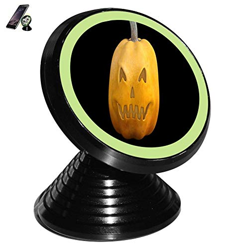 Yellow Smiley Face Pumpkin Magnetic Vehicle Mounted Mobile Phone Bracket Holder 360 with Noctilucent Function