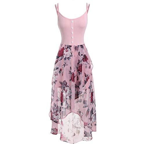 Aniywn Women Plus Size Spaghetti Straps Chiffon Dress Floral Print High Low Hem Sleeveless Dress Pink