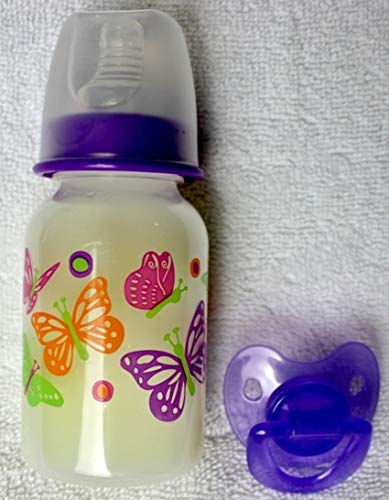 Reborn Sealed Pink Purple Butterfly Bottle Fake Formula Milk with Matching Modified Putty Pacifier Baby OOAK Doll Girl