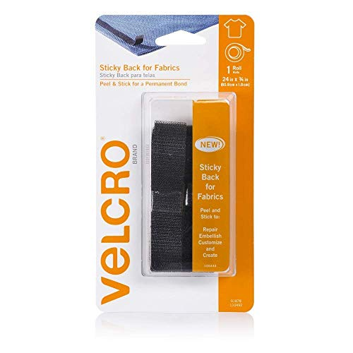 VELCRO Brand For Fabrics | Permanent Sticky Back Fabric Tape for Alterations and Hemming | Peel and Stick - No Sewing, Gluing, or Ironing | Cut-to-Length Roll, 1 x 3/4 inch, Black