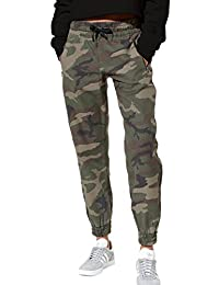 Womens Pants Casual Camo Drawcord High Waist Pocket Tapered Sports Wear