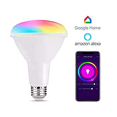 Vaticas BR30 Smart Light Bulb, BR30 WiFi Light WiFi Voice Remote Controlled with Alexa and Google Home,Dimmable LED Light Bulbs RGBW Bulbs 10W (80W Equivalent)