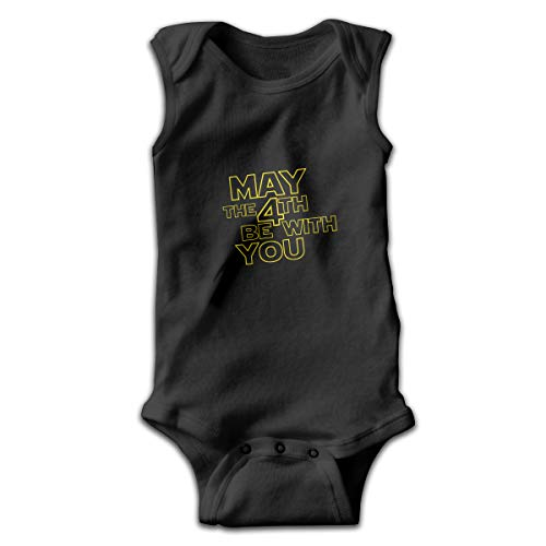 May The 4th Be with You Newborn Infant Baby Sleeveless Bodysuits Rompers Outfits Black -