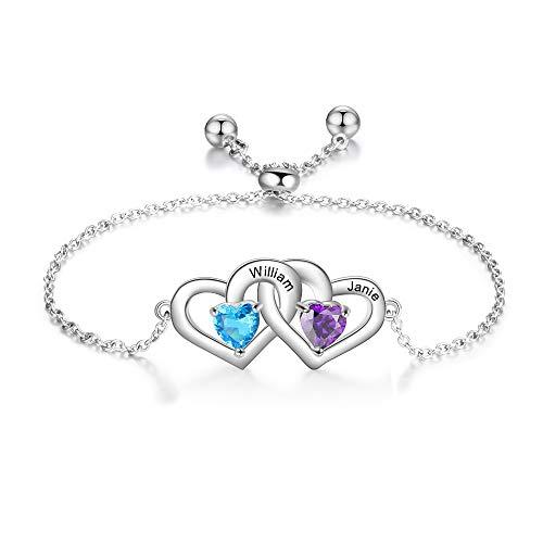 Personalized 2 Heart Simulated Birthstone Bracelets Adjustable Custom 2 Names Bangle Engraved Best Friend Love Bracelets for Women