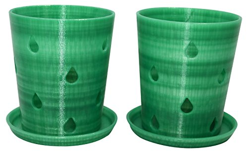 2 pack Orchid Pots and Trays, Translucent Green, 3.5