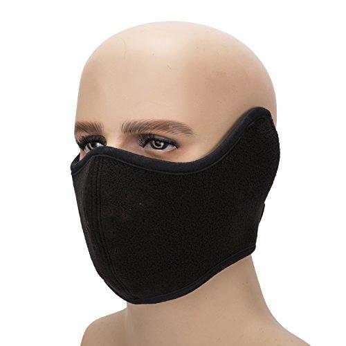 Elabeh Turner The New Winter Warm mask Fleece Earmuffs Riding Creative maskoutdoors face mask (Black)