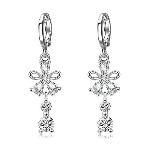 WINNICACA Daisy Drop Earrings Cubic Zirconia Dangle Earrings Lever-back Drop (Diamond Dangle Flower)