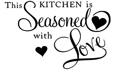 LoveDecals This Kitchen Is seasoned with Love, Vinyl wall art Inspirational quotes and saying home decor decal sticker