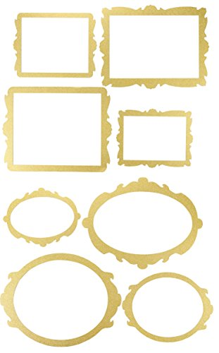 Blue Panda Photo Booth Frame - 8-Pack Gold Glitter Picture Frame Party Supplies, Selfie Frame Cutouts, Party Favors for Wedding, Birthday Party, Bridal Shower, Bachelorette Party