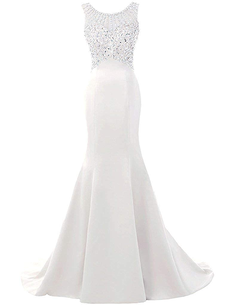 Ivory ASBridal Evening Dress Mermaid Prom Party Dress with Crystals Beading Long Satin Formal Evening Gown Backless