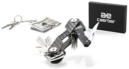 Smart & Compact Carbon Fiber Key Holder Organizer Set | 2-20 Keys Organizer, Folded Key Knife, Suspension & Money Clip, Bottle Opener, Sim Opener, Key Chain & Key Ring Organizer, Carabiner and More. - Slick Open Loop