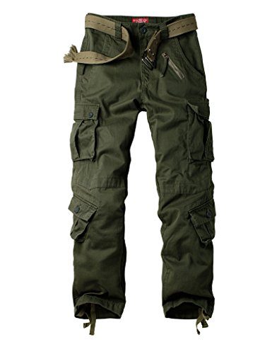 (Must Way Men's Cotton Casual Military Army Cargo Camo Combat Work Pants with 8 Pocket Military Green 36)
