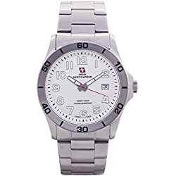Swiss Mountaineer Mens Swiss Watch Silver Tone Stainless Steel Bracelet Easy Read Dial Date Reloj SML8011