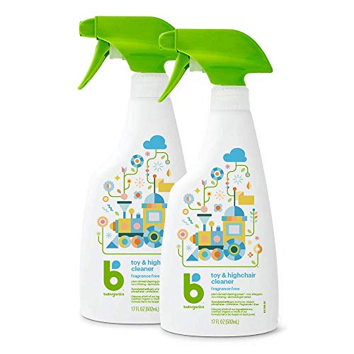 Babyganics Toy & Highchair Cleaner Spray, 17oz, 2 pack, Packaging May Vary (Best Way To Sanitize Baby Toys)