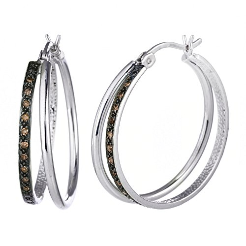 (Sterling Silver Champagne Diamond Hoop Earrings (1/10 cttw))