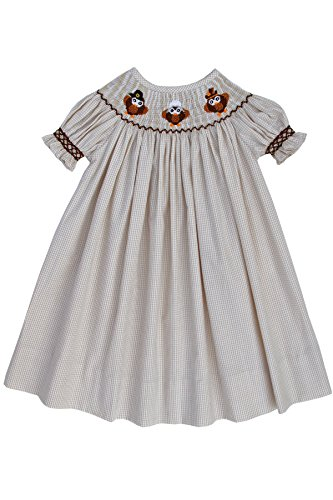 Hand Smocked Thanksgiving Turkey Owls Girls Bishop Dress