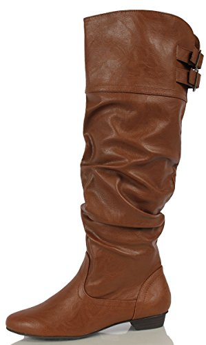 Soda Women's Carano Faux Leather Slouchy Knee High Riding Boot, Cognac, 85 M US
