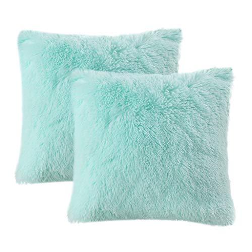 LIFEREVO 2 Pack Shaggy Plush Faux Fur Decorative Throw Pillow Cover Velvety Soft Cushion Case 18 x 18 Inch, Aqua