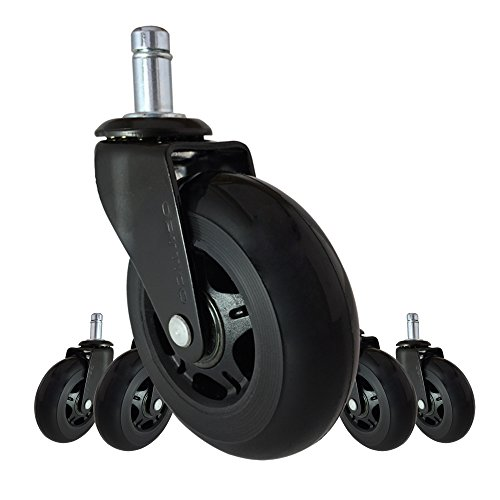 Office Chair Caster Wheels Replacement - Set of 5 Black 3