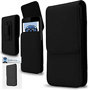 Black PREMIUM PU Leather Vertical Executive Side Pouch Case Cover Holster with Belt Loop Clip and Magnetic Closure for Maxwest Orbit 5400T