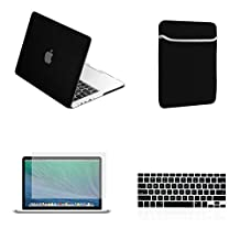 "Unik Case-4 in 1 Retina 13 Inch Rubberized Hard Case,Screen Portector,Sleeve Bag & Silicone Skin for Macbook 13"" with Retina Display A1502/A1425 Shell Cover-Black"