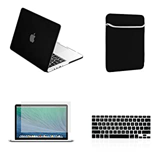 13.3 Macbook Pro Retina Ruberized Hard Case+Clear Screen+Black Keyboard Cover