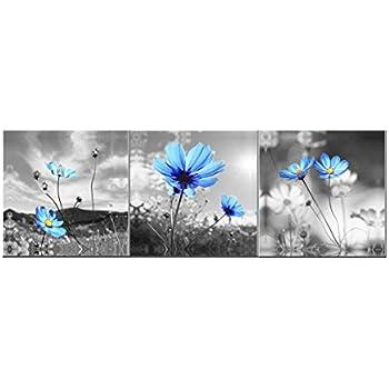 Amazon.com: Amoy Art -The Blue Dandelion Flowers Oil Painting Canvas ...