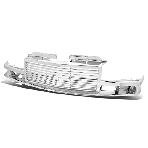 (For 98-04 Chevy S10/Blazer ABS Plastic Horizontal Front Bumper Grille (Chrome) - GMT325 GMT330)