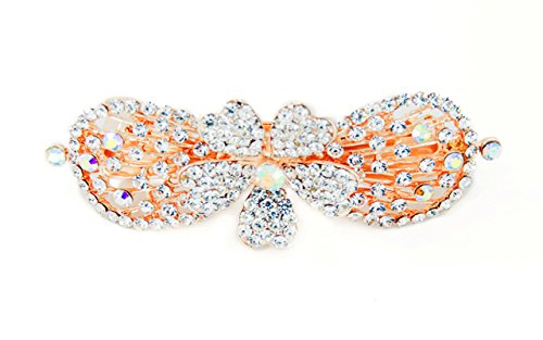 Yeshan Lady Vintage Jewelry Rhinestone Crystal beaded Bow Flower Pattern Alloy Hair Barrette Clips,White (Crystal Bow Barrette)