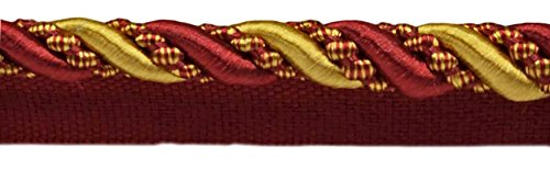 DecoPro 8.2 Meter Value Pack of Large 11mm Burgundy Red Gold Noblesse Collection Lip Cord Style# 0716H Color: Carmine Gold 27 Ft // 8.2 Meters 1253