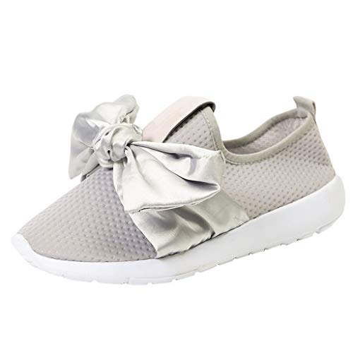 vermers Womens Breathable Sneakers Leisure Outdoor Mesh Bow Sports Shoes Casual Running Flat Round Toe Shoes Sneakers(US:8.5, Gray)