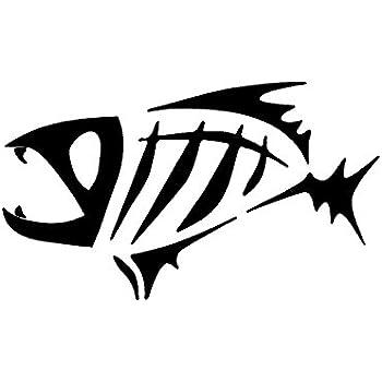 Amazon com: BLACK GLOOMIS SKELETON FISH BOAT LOGO WINDOW NEW STICKER