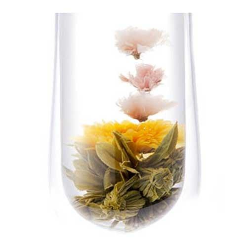 クロイソス工芸茶・桜の康藝銘茶&桐箱セット(工芸茶5種セット 手提げ袋付き)