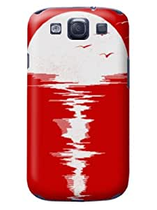 The Fine Craft With Exclusive&Exquisite Design Pretty Peaceful Moon Reflection Red Hard Case For Samsung Galaxy S3
