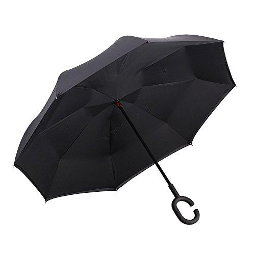 Amagoing Car Inverted Umbrella Double Layer Windproof Reverse Umbrella for Rain - Mens List Designers