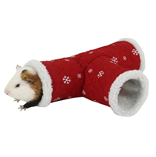 Hamster Tunnel by Stock Show, Warm T Shape Small Pet Animal Tube Hideout Bed Playing Channel for Gerbil Rat/Guinea Pig/Chinchilla/Squirrel, Red