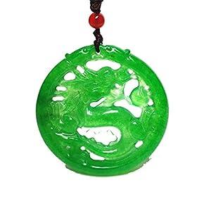 yigedan Collar con colgante de jade jadeita hueco de dragón verde hecho a mano natural vintage | DeHippies.com