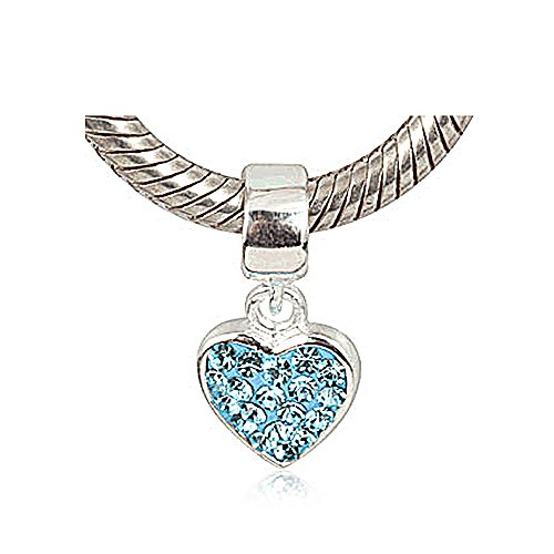 Everbling Love Heart Dangle December Birthstone 925 Sterling Silver Bead Fits Pandora (Austrian Crystal Dangle Bracelet)