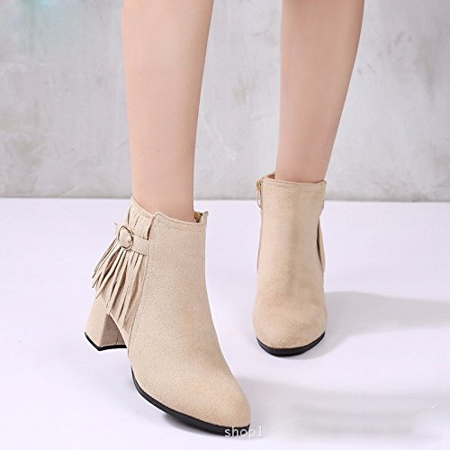 Suede Fashion KPHY Women'S Fashionable Tassels Women'S Shoes Forty Boots Zipper Heel Winter Shoes Middle Martin And Autumn rvvSdqFwY