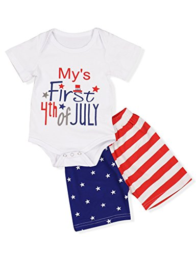 Doding Independence Day Baby Boy Girl Clothes Summer Romper + USA Flag Shorts Outfit Set(6-12 Months)