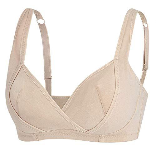 ALLYOUNG 1537#Sports Bras for Women Free Seamless Bra Crop Top Vest Comfort Shapewear Fitness Beauty Back Bra (Khaki, XL) ()