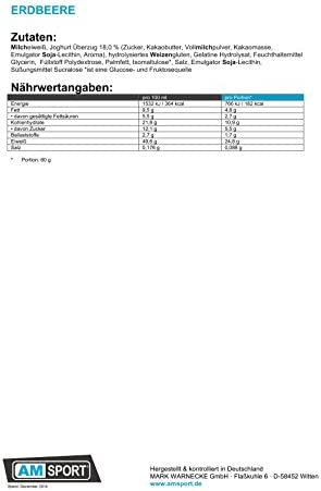AM Sport - High Protein Bar +50% - 24 x 50g Riegel Erdbeer