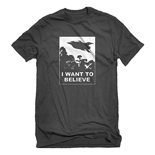 Indica Plateau Mens I Want to Believe Planet Express Large Charcoal Grey T-Shirt ()