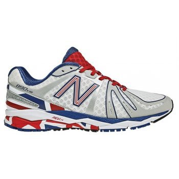 new style 3773b 3367c 890 V3 British Miler Mens 2E Wide Fit Running Shoes White Blue Red -