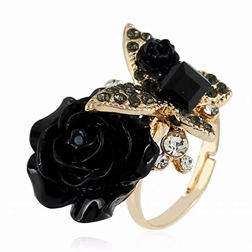TMROW Women Rose Flower Butterfly Ring Enamel Crystal Wedding Cocktail Tea Party