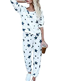 Etecredpow Womens Homewear Sweatsuit Star Active Two Piece Sets Casual Tracksuit