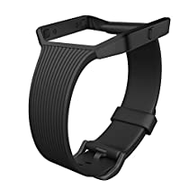 for Fitbit Blaze Bands, UMTELE Slim Profile Silicone Replacement Strap with Stainless Steel Frame for Fitbit Blaze
