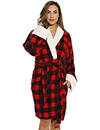 Sherpa Trim Plush Ugly Christmas Robes for Women